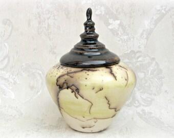 Decorative Horsehair Raku Lidded Jar or Keepsake Urn