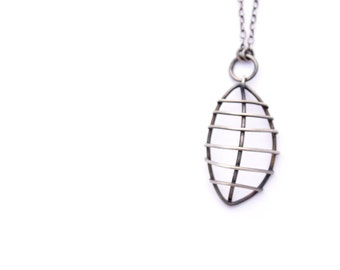 3D Jewelry, Sterling Silver Necklace, Skeletal Leaf Necklace, Nature Jewelry, Botanical Jewelry, Oxidized Silver, Unusual Pendant Necklace
