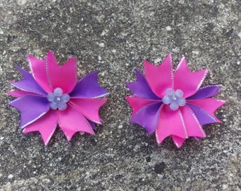 Pink and Purple Flower Hair Bow