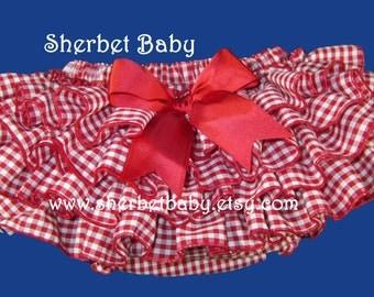 4 Ruffles Red Gingham Check Ruffled Diaper Cover Bloomer