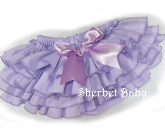 4 Ruffle Lavender Purple Classic Style Ruffle Diaper Cover Bloomers with Bow