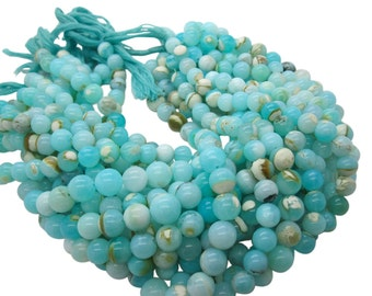 Blue Peruvian Opal Beads, Peruvian Opal Beads, Blue Opal Beads, Round, Aqua Gemstone, Wholesale Opal, SKU 4922