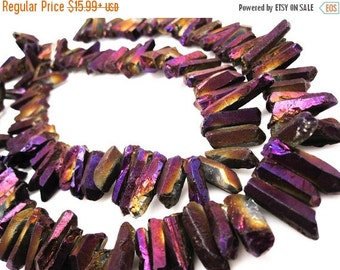 SALE Titanium Quartz Sticks, Crystal Points, Spikes, Quartz Point, Violet Metalic Quartz Beads, Crystal Points, Quartz Spike Beads, SKU 3665