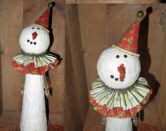 Folk Art Snowman ....  vintage style / kitsch Christmas decor / handmade OOAK / recycled upcycled