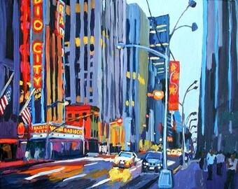 Radio City New York Art NYC Art Radio City Music Hall Art Print Cityscape  8x10, Evening Night Painting by Gwen Meyerson