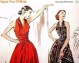 Sewing Pattern SALE Retro 1950 Halter Dress Pattern Butterick Misses Size 6 8 10 12 UNCUT Fit and Flare Dress Pattern Evening Gown