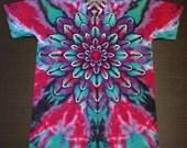 Tie Dye Shirt, Tie Dyed Shirt, Tiedye Shirt, Rainbow Tie Dye, Lotus Tie Dye, Flower Tie Dye, Size XL Tall, Size XLT, Mandala Tie Dye, Tall