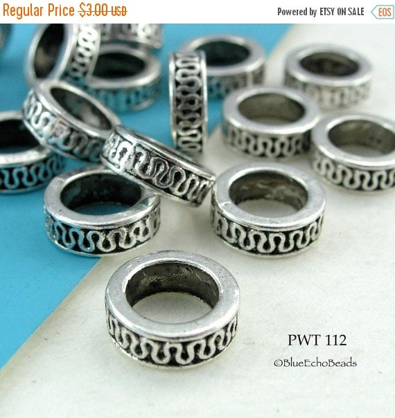 ON SALE Large Hole Beads Pewter Ring 11mm Antique Silver (PWT 112) blueecho 10 pcs