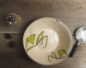 Praying mantis bowl,  white and green ceramic insect bowl, woodland home decor, serving bowl