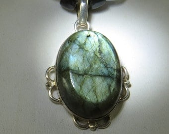 Sterling Silver Labradorite Cabochon with Czech Glass Beads