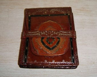 Vintage Leather Credit Card Case Wallet Embossed Purse Size