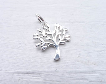 Tree Charm Sterling Silver Pendant for Jewelry Making