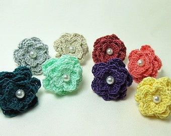 Crochet Flower Rings, party rings, 8 colors, brides maid fashion rings, summer accessories, adjustable rings, flower motif rings with pearl