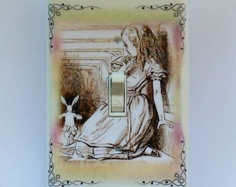 Ornate corners Alice frame designs Oversize Switchplates & MATCHING SCREWS- Alice in Wonderland wall decoration Alice framed nursery prints