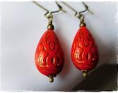 Long red earrings, red drop earrings, cinnabar red acrylic earrings, long coral red dangle earrings, Moroccan jewelry, red boho earrings