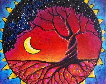 "Celestial Tree of Life Original 18"" x 18"" Mixed Media Acrylic Tree Art Painting on canvas by  Modern Contemporary Folk Art,"