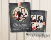 Chalk Ornament--Christmas Card Template for Adobe Photoshop, Photographer Template, Instant Download, DIY, Commercial Use