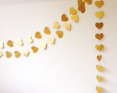 Gold Hearts Garland, Party Decoration, Wedding Decor, Heart Garland, Christmas Decoration, Gold Garland, Wedding Garland, Choose Your Length
