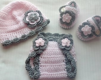 Baby Girl Infant Girl Crochet Hat Beanie Booties Diaper Cover Baby Shower Gift Photo Prop 10030 MADE TO ORDER