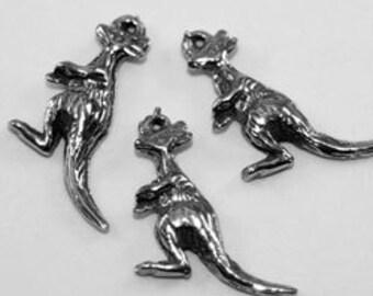2 x Tiny Kangaroo pendant or charm  1 bail pewter made in Australia AF527