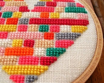 Heart Full of Colour - PDF Cross-stitch pattern - Instant Download