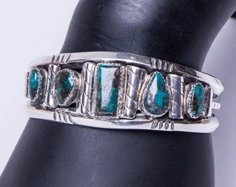 70's Turquoise Row Bracelet - Navajo Natural Blue Creek Cuff  - 46g