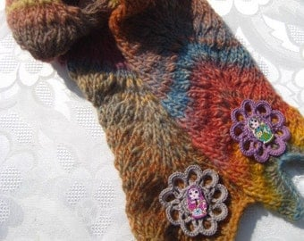 Hand knitted little girl's pure wool scarf, Matryoshka doll embellishment