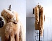 Vintage Blond Stone Marten Three Pelt Stole // Fur Scarf Wrap
