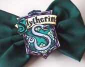 Green Slytherin House Shield Hair Bow