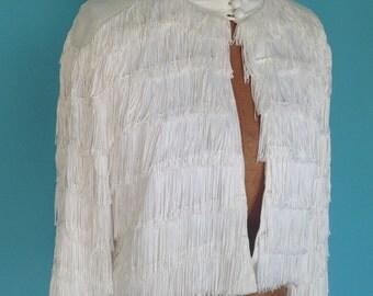 Vintage 1960s Lilli Diamond of California White Cropped Bolero Fringe Jacket