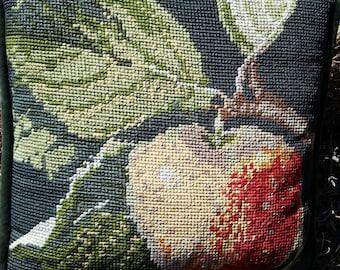 needlepoint apple pillow