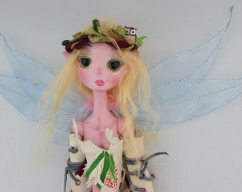 ELFI, little fairy paper clay ball jointed puppet doll, handmade in the USA
