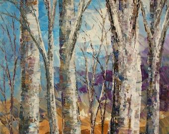 "Forest Painting Palette Knife Original Landscape Art Birch Aspen Trees Woodland - 14""x18"" - by Tatiana Iliina - free shipping"