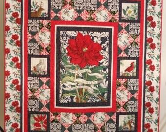 Christmas Quilt / Christmas Throw / Joyeux Noel Quilt / Poinsettia Quilt / Christmas Blanket