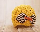 baby girl hat // mustard // chevron // bow hat // newborn photo prop // baby hat // multiple sizes 0 3 6 9 12 months // fall baby girl hat