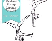 Custom Stamp Listing for Sherrie - gymnastic themed stamps - cartwheel, handstand