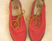 1980s Polo Sportsman Canvas Deck Shoes // Red // Sneakers 8.5
