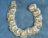Vintage Siam Silver Enamel Link Bracelet 1960s