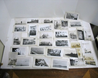 Large Lot WW2 Photos Men on Ships Navy World War Two 2 Photographs Snap Shots Pictures
