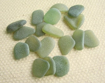 18 Pendant and Charm Size Mixed Olive and Herb Garden Green Sea Glass Gems (SG1963) Mediterranean Sea Glass, Beach Glass