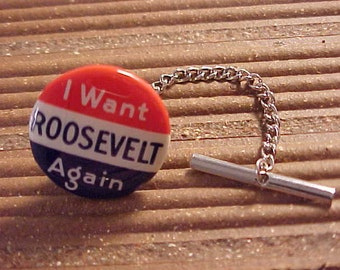 Tie Tack Vintage FDR Roosevelt Political Campaign Pin - Free Shipping to USA