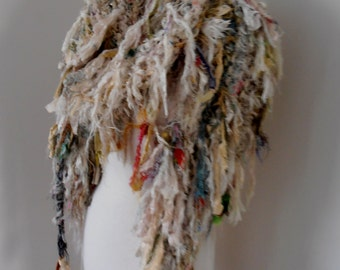 recycled silk  chiffon boho chic  tattered wrap handknitted by plumfish
