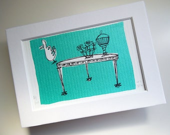 CURIOS | retro 50's decor art in metallic seafoam green, an original mini silkscreen print with white mat by Kathryn DiLego