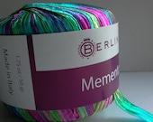 italian ribbon yarn . escape . berlini memento ribbon yarn . 88yds 80m . turquoise hot pink citron yellow luxury ribbon . destash yarn