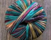 italian ribbon yarn . timberland . berlini memento ribbon yarn . 88yds 80m . teal burgundy butterscotch brown luxury ribbon . destash yarn