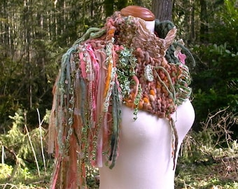 enchanted woodland faerie. handknit art yarn scarf . chunky knit wool ribbon scarf . chunky knit scarf . nature fairy peach green gold