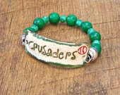 RESERVED for Krista - Crusaders Baseball Bracelet with Jade and Glass Beads gameday college high school jewelry sports mom green game day