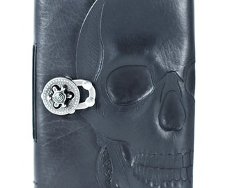 black skull leather journal, magic spell book, book of magic, wizard book, gothic book, halloween spell book, fortune teller book, wicca