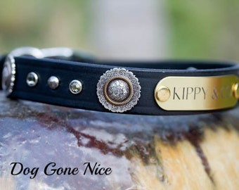 Leather Dog Collar//Personalized Dog Collar//Name id Collar//Personalized Leather Collar//Dog Collar//Pet Collar//Concho Crystal Collar