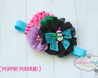 Holiday Baby headband { Poppin Penguin } pink, black turquoise, Christmas Tree, Holiday Headband, first birthday onderland photography prop
